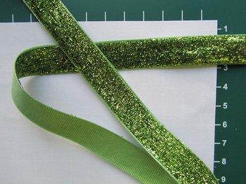 glitterband 15 mm, lichtgroen