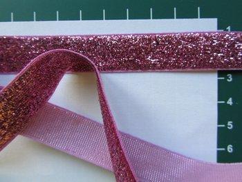 glitterband 15 mm, roze