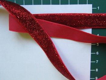 glitterband 15 mm, rood