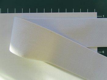 taille-elastiek 4 cm breed: effen gebroken wit /HALVE METER