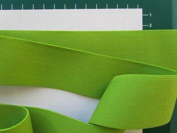 taille-elastiek 4 cm breed: effen lichtgroen /HALVE METER