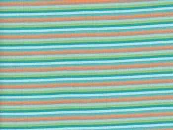 Anne, boordstof strepen:grijs/groen/turquoise/oranje