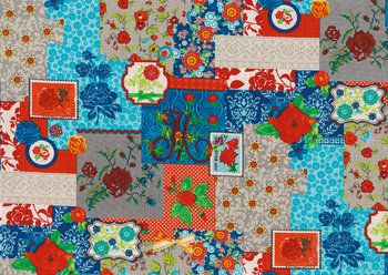 Flower Parade: patchwork blauw