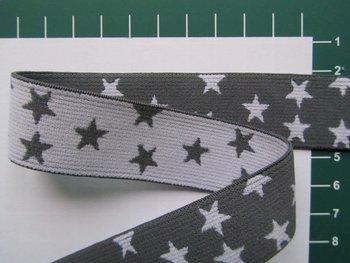 taille-elastiek 2,5 cm breed: kleine sterren wit met grijs/HALVE METER