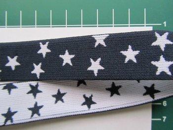 taille-elastiek 2,5 cm breed: kleine sterren wit op marine /HALVE METER