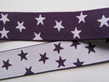 taille-elastiek 2,5 cm breed: kleine sterren wit op paars /HALVE METER