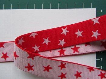 taille-elastiek 2,5 cm breed: kleine sterren wit met rood /HALVE METER