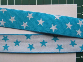 taille-elastiek 2,5 cm breed: kleine sterren wit met turquoise /HALVE METER