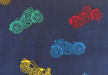 Motorcycles, motors op donkerblauwe katoen
