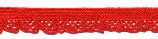 elastisch rucheband, rood, smal