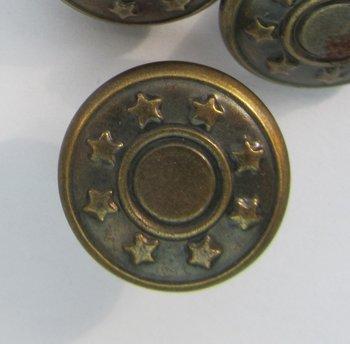 Broekhaak met jeansknoop brons