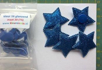5 blauwe glittersterren met bijpassende snaps maat 20