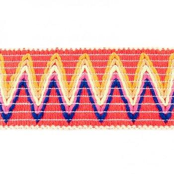 Sierelastiek 6 cm breed: zigzag roze