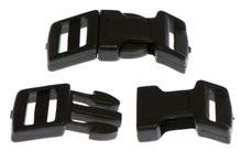 Gebogen klikgesp zwart kunststof 15 mm