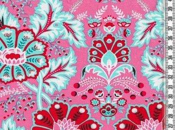Flora: bloemen en ornamenten groot op roze
