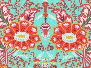 Flora: grote bloemen en ornamenten op turquoise tricot