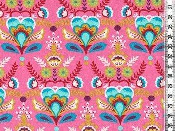 Flora: bloemen en ornamenten op roze tricot