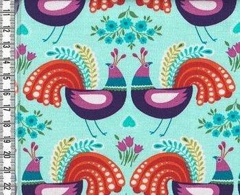 Flora: tricot grote pauwen in spiegelbeeld