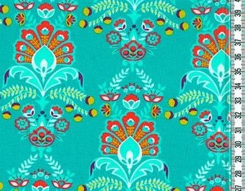 Flora: tricot ornamenten op donkerder turquoise
