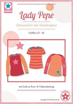 Lady Pepe, shirt met schouderpassen in de maten 32, 34, 36, 38, 40, 42, 44, 46