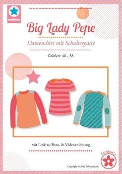 Big Lady Pepe, shirt met schouderpassen in de maten 46, 48, 50, 52, 54, 56, 58
