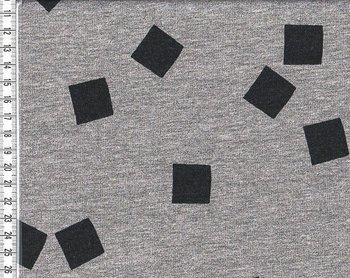 wintertricot grijs/zwart met zwarte blokjes van ca 2 bij 2 cm