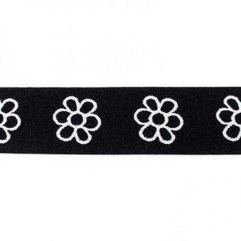 taille-elastiek 4 cm breed: bloemen wit met zwart/HALVE METER