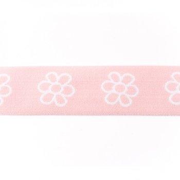 taille-elastiek 4 cm breed: bloemen wit met roze /HALVE METER