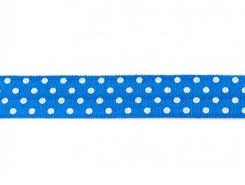 omvouwelastiek blauw met witte stip