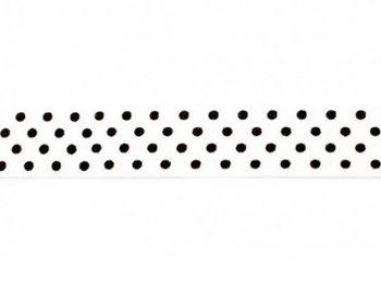omvouwelastiek gebroken wit met zwarte stip