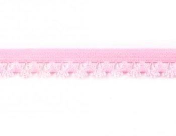 zacht sierelastiek met schulprand, roze