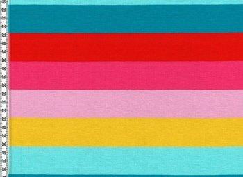 LOU/ blokstrepen rood/turquoise/fuchsia/roze/geel/lichtturquoise