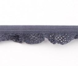 zeer zacht en elastisch rucheband, donkergrijs 15mm