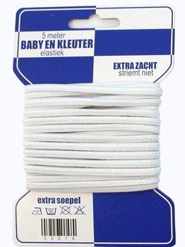 5 meter baby- en kleuterelastiek, extra zacht, wit