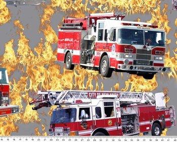 Tim: digitaal bedrukte tricot: brandweer blus het vuur!!