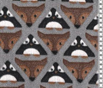 Fluffy: pinguins en vosjes in driehoeken. Een fluffyfleece
