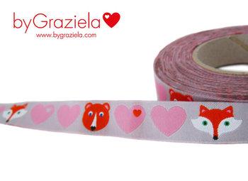 byGraziela, hartjes roze op grijs met beer en vos, sierbandje