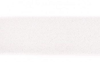 glitter-elastiek 5 cm breed :  /HALVE METER/ wit