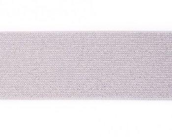 glitter-elastiek 5 cm breed :  /HALVE METER/ zilvergrijs