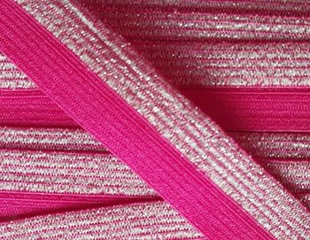 omvouwelastiek 1,6 cm breed met glitterband aan één kant / fuchsia