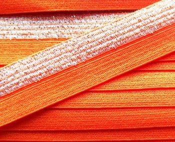 omvouwelastiek 1,6 cm breed met glitterband aan één kant / oranje