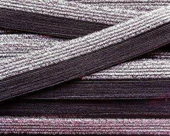 omvouwelastiek 1,6 cm breed met glitterband aan één kant / donkergrijs