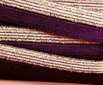 omvouwelastiek 1,6 cm breed met glitterband aan één kant / donkerpaars
