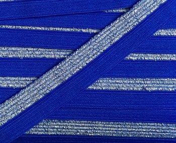 omvouwelastiek 1,6 cm breed met glitterband aan één kant / blauw