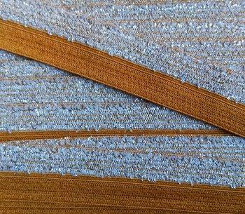 omvouwelastiek 1,6 cm breed met glitterband aan één kant /camel-cognac-caramelkleur