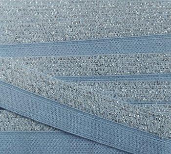 omvouwelastiek 1,6 cm breed met glitterband aan één kant / lichtblauw
