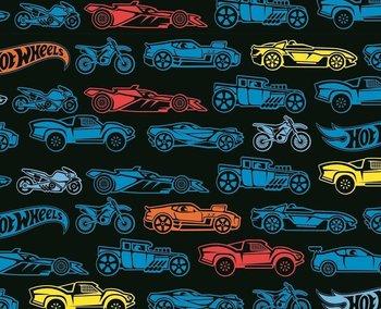 Hot Wheels, tricot met honderden autootjes op zwarte ondergrond