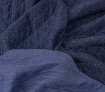 Silke melange: Doubleface tricot: twee lagen tricot in donkerblauw/ jeansblauw met een dun laagje fiberfill