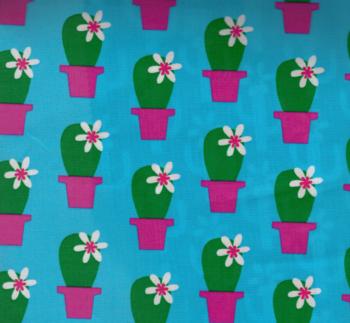 Geplastificeerde katoen voor o.a.jassen! Cactus Blossom van Jolijou