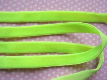 elastisch fluweelband neon geel/groen 1cm breed